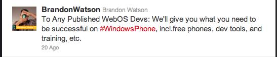 Brandon Watson Tweet
