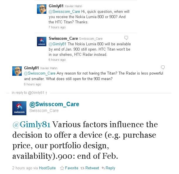 Tweet di Swisscom su Lumia 900