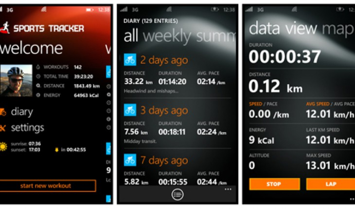 Sports Tracker per Windows Phone