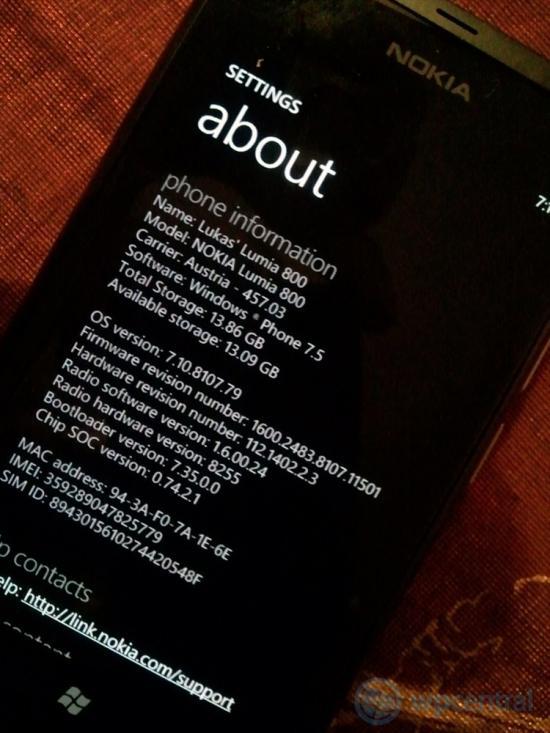 Nokia Lumia 800 update 7.10.8107
