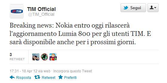 Nokia Lumia 800 TIM Update