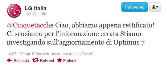 LG Italia rettifica