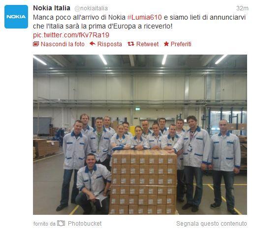 Nokia Lumia 610 al via la distribuzione