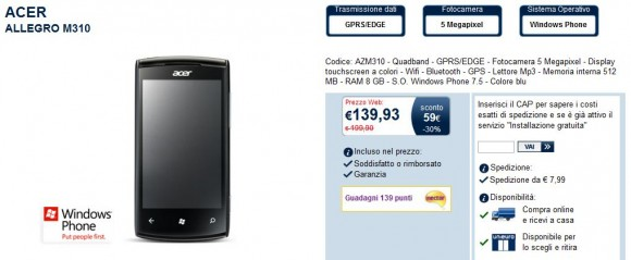 Acer Allegro M310 in offerta a 139 Euro su Unieuro