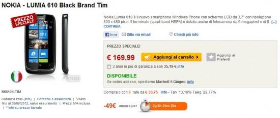 Nokia Lumia 610 TIM in offerta su ePrice
