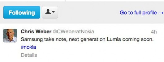 Tweet Chris Weber to Samsung