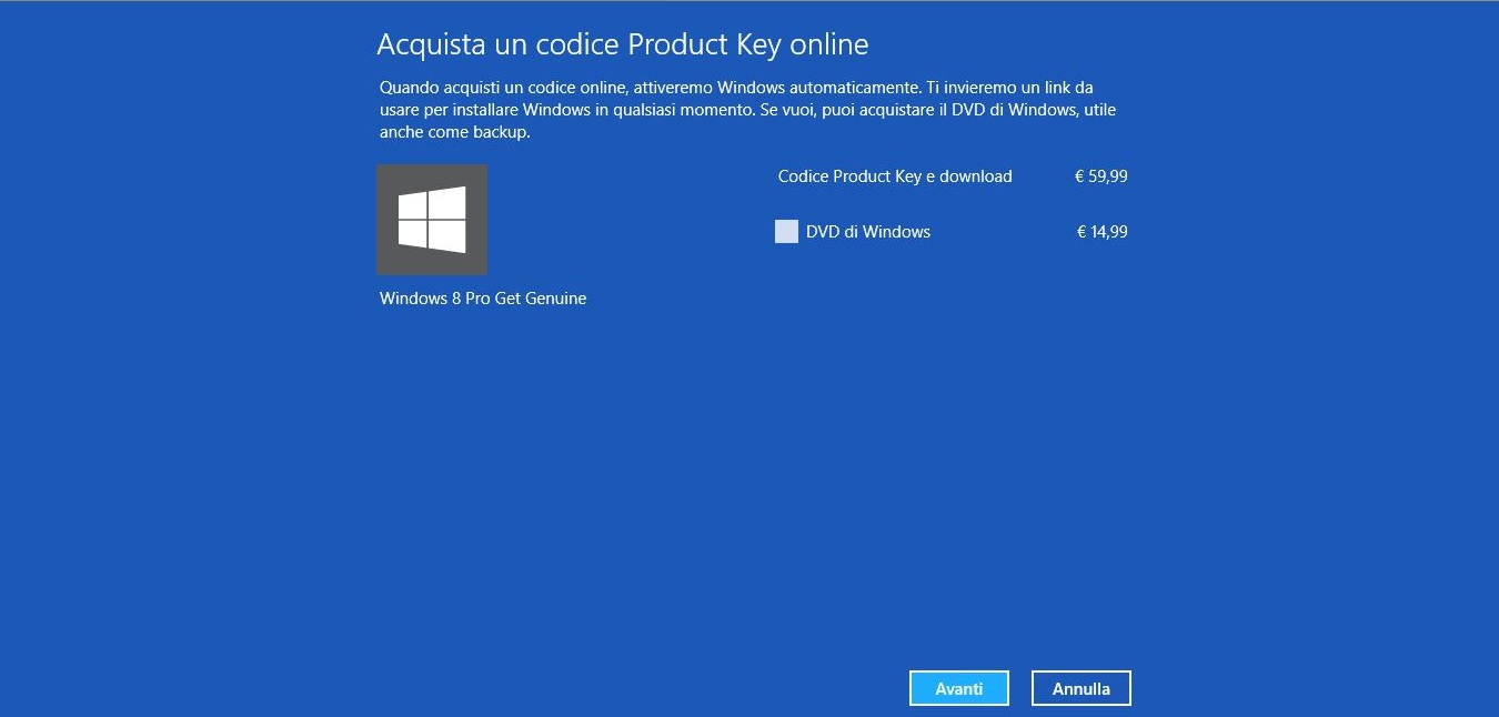 Prezzo Windows 8 Pro