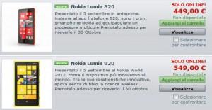 Prezzi Vendita Lumia 920 e 820