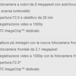 Specifiche Fotocamera HTC 8X