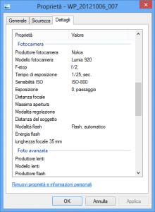 Dati EXIF scatto Nokia Lumia 920