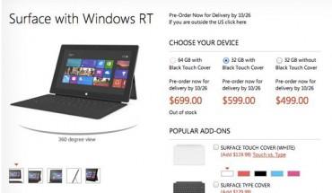 Microsoft svela i prezzi del Surface RT