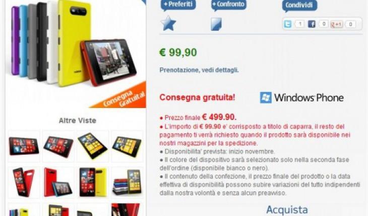 Nokia Lumia 820 in prenotazione su nstore.it