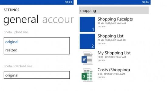 SkyDrive per Windows Phone