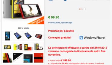 Nokia Lumia 920 esaurito su nstore.it