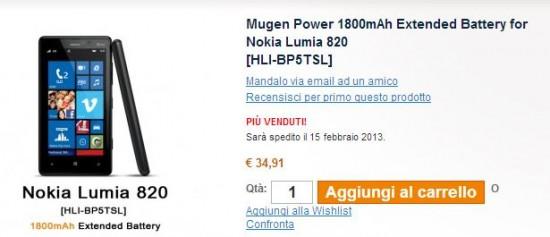 Batteria Mugen Extra per Nokia Lumia 820