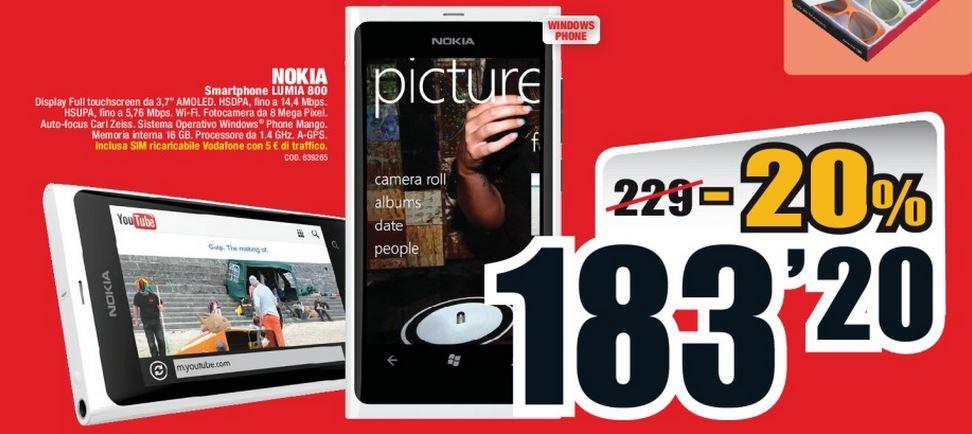 nokia lumia 800 in offerta a 183 20 euro da mediaworld dal 24 www