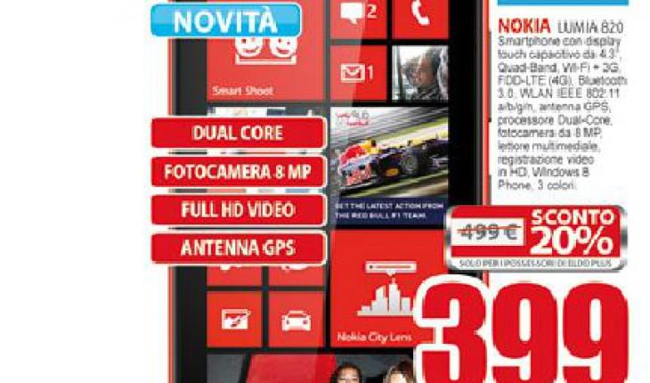 Nokia Lumia 820 a 399 Euro nei negozi Eldo