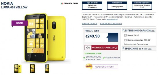 Nokia Lumia 620 disponibile su Unieuro