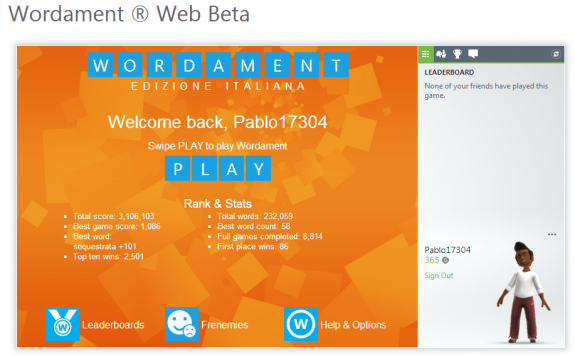 Wordament Beta per Desktop