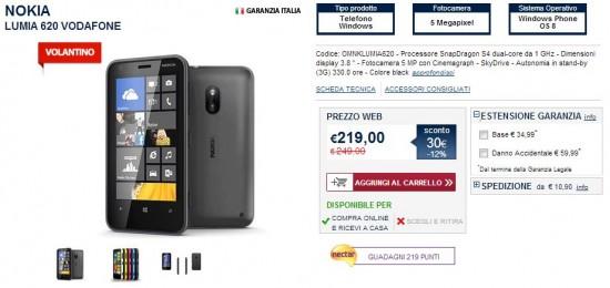 Nokia Lumia 620 in offerta da Unieuro