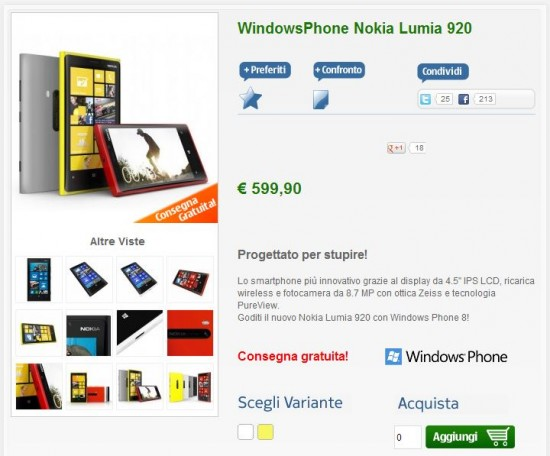 Nokia Lumia 920 su nstore.it