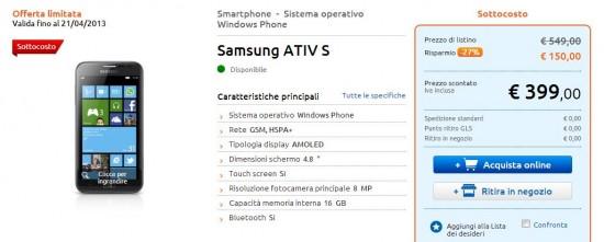 Samsung ATIV S in offerta