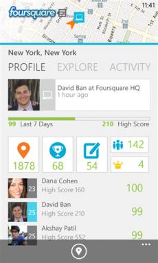 Foursquare per Windows Phone