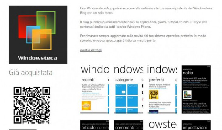 QR Code per Windowsteca