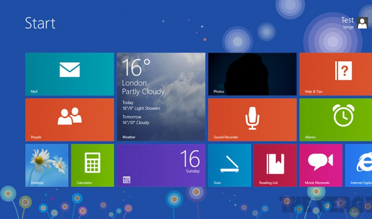 Startscreen - Windows 8.1