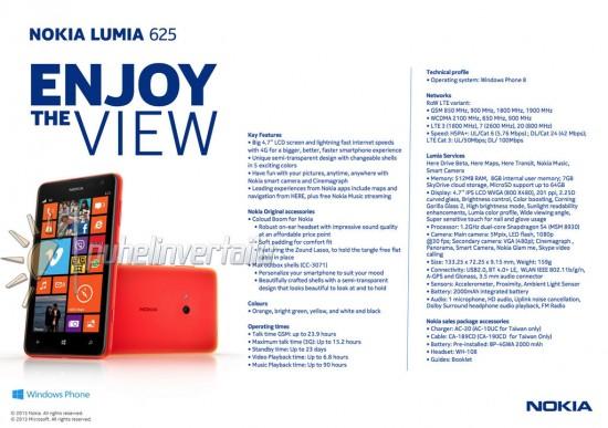 Nokia Lumia 625 Dataheet