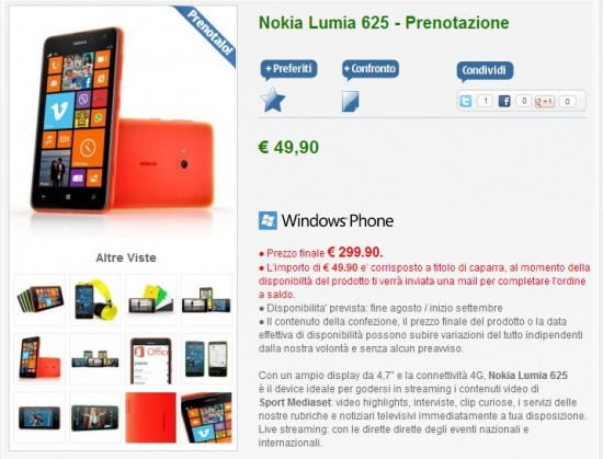 Nokia Lumia 625 su NStore