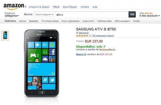 Samsung ATIV S a soli 237 Euro su Amazon