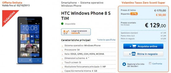 HTC 8S in offerta