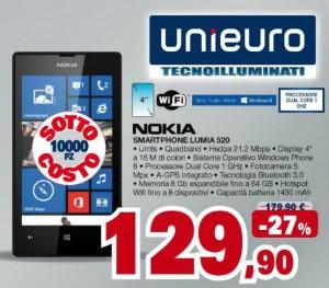 Nokia Lumia 520 in offerta da Unieuro