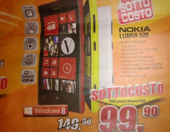 Nokia Lumia 520 a soli 99 Euro
