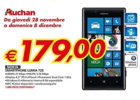 Nokia Lumai 720 a soli 179 Euro da Auchan