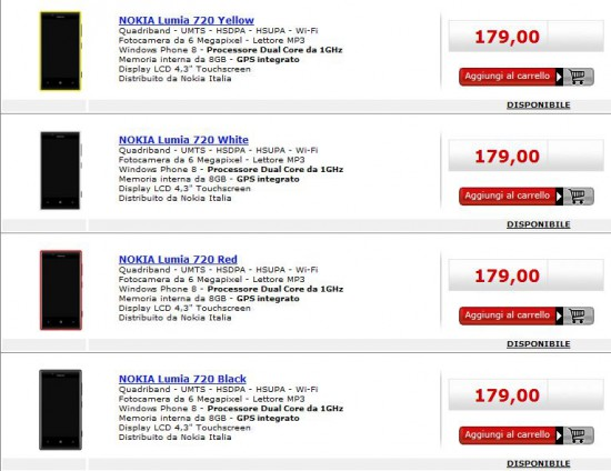 Nokia Lumia 720 in offerta da MediaWorld