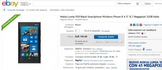 Nokia Lumia 920 in offerta su Unieuro Ebay