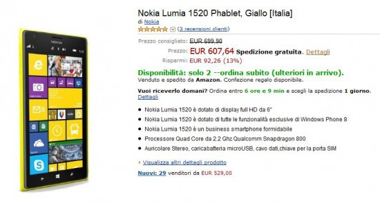 Nokia Lumia 1520 su Amazon