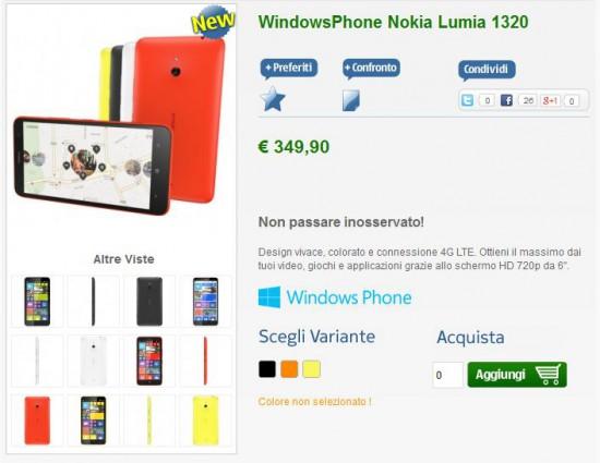 Nokia Lumia 1320 disponibile all'acquisto su NStore