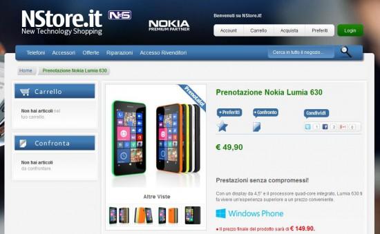 Nokia Lumia 630 su NStore