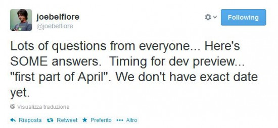 Tweet di Joe Belfiore