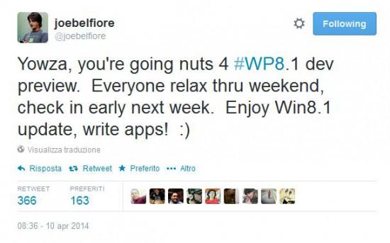 Tweet di Joe Belfiore