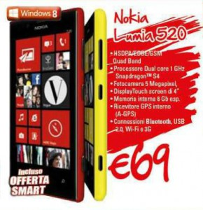Nokia Lumia 520 a soli 69 Euro