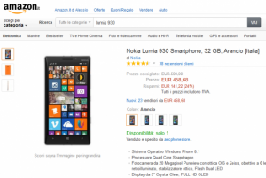 Nokia Lumia 930 a 458 Euro su Amazon
