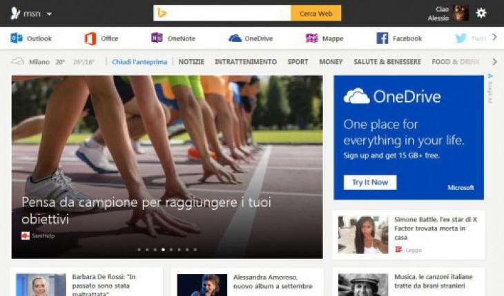Nuova veste grafica del sito MSN