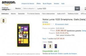 Nokia Lumia 1020 a 380 Euro su Amazon