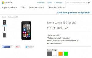 Nokia Lumia 530 sul Microsoft Store
