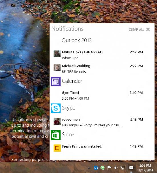 Action Center di Windows 10