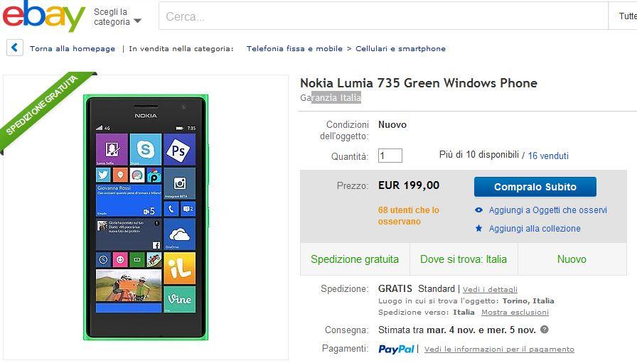 Offerta Nokia Lumia 735